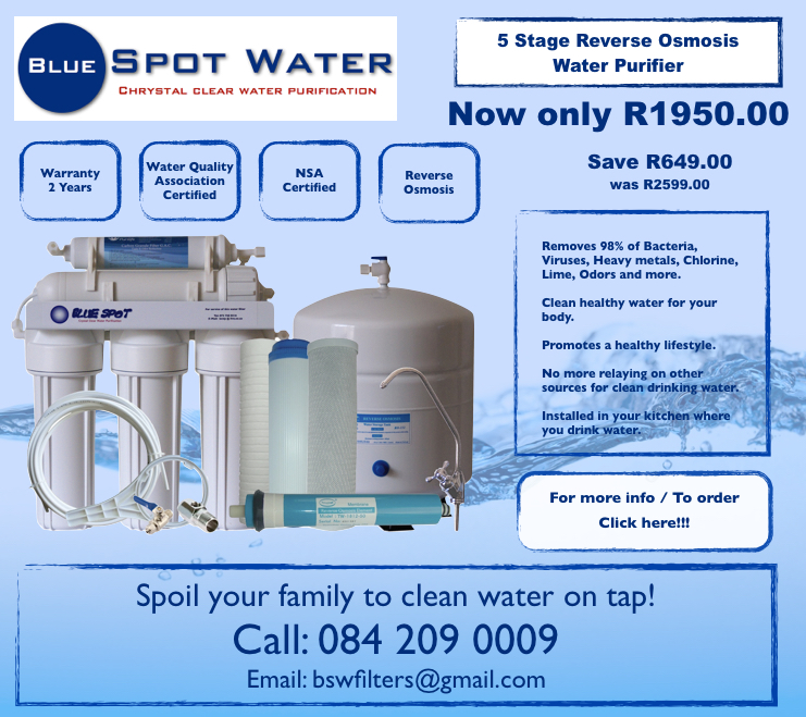 5 Stage Reverse Osmosis Purifier Special Best Price www.bluespotwater.co.za