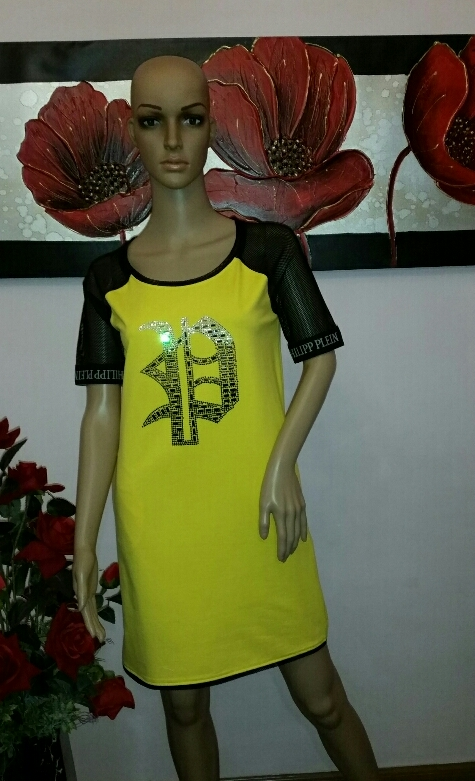 -philipp-plein-gold-embroidered-detailed-yellow-dress