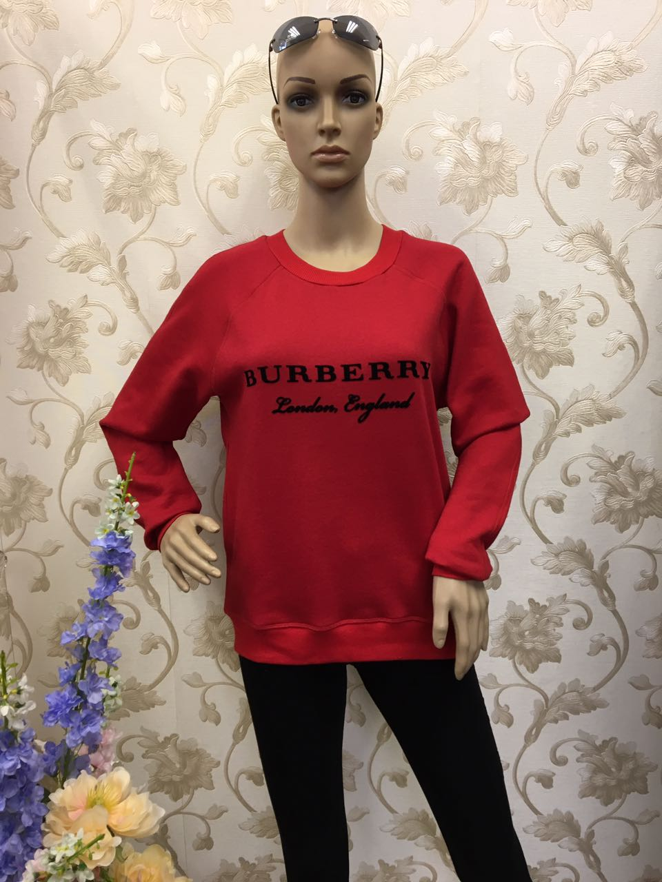 burberry-long-sleeve-red-pullover-with-embroidery-and-check-pattern
