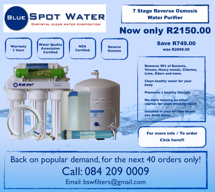 7 Stage Reverse Osmosis Purifier Special, Best Price www.bluespotwater.co.za