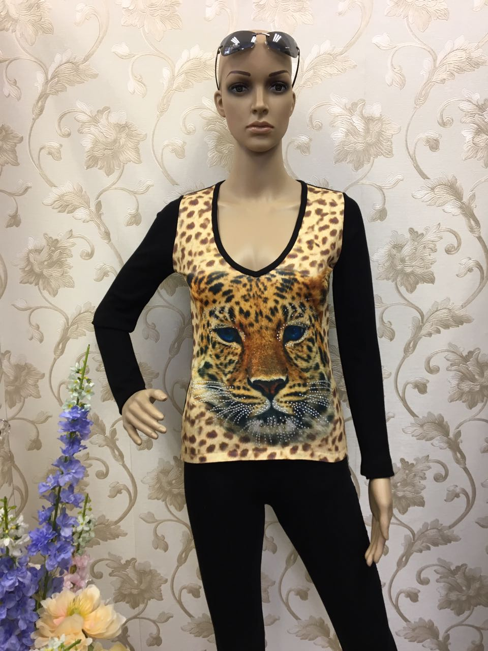 roberto-cavalli-leopard-print-jersey-with-silver-beads
