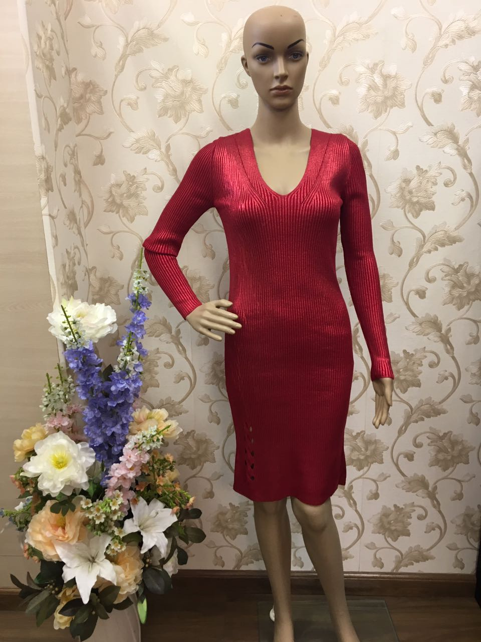 vogue-red-ruby-paillette-embellished-dress